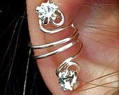 Alissa ear cuff wrap earring silver wire and rhinestones