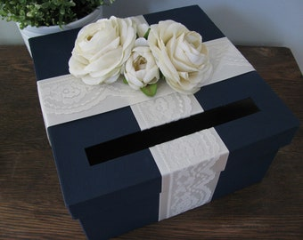 Navy Wedding Card Box with Ivory Lace satin ribbon and Ivory Ranunculus can customize colors and flowers