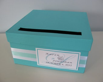 Modern Aqua Blue Wedding Card Box Bridal Shower Engagement Anniversary Modern Personalized Tag You Can Customize