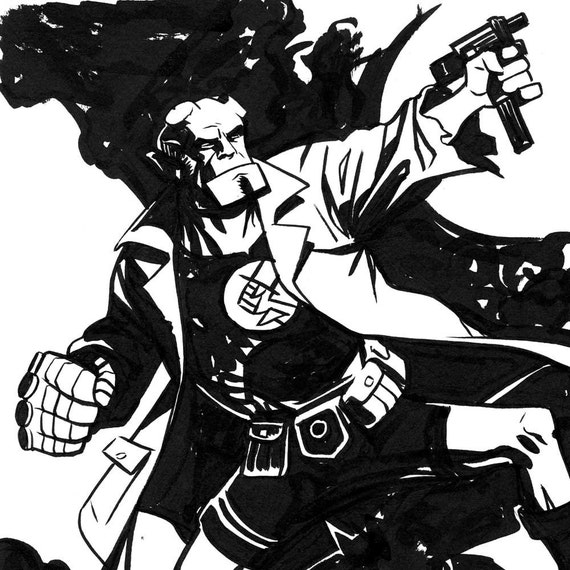 HELLBOY sketch by Steve Lieber and Jonathan Case