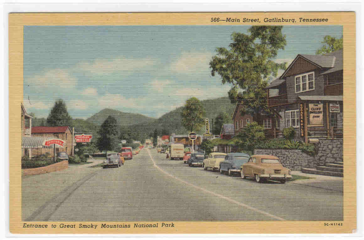 Main Street Cars Gatlinburg Tennessee 1954 Postcard