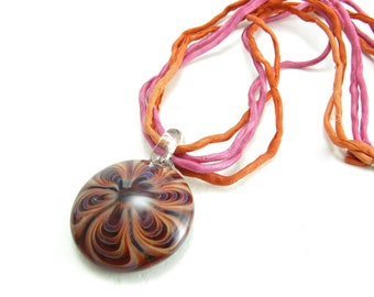 Artisan Glass Pendant Silk and Sterling Silver Necklace Orange Pink Punch