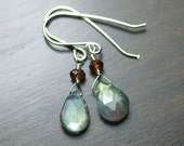 "Labradorite Garnet Earrings Gemstone Sterling Silver Wire Wrapped Iridescent Green Blue Fire Night Sky Deep Red - ""Starlight"""