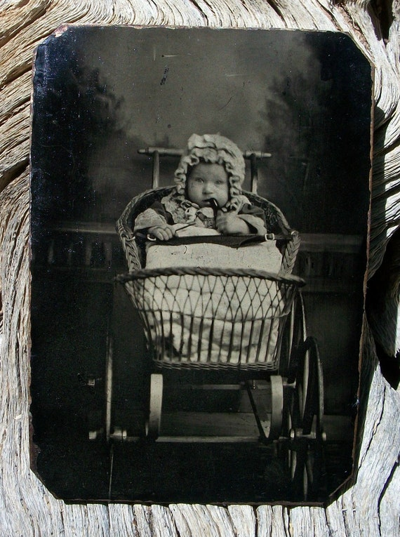 Tintype Tot Riding in Style