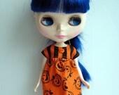 Halloween Dress for Neo Blythe Dolls Orange Pumpkins Black Stripes