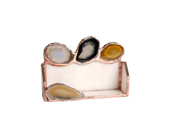 Agate Business Card Holder Stained Glass Geode HandmadeOOAK 247