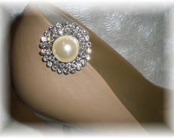 Pearl and Rhinestone Shoe Clips, Pearl Drop Shoe Clips...Fancy up Your Shoes for Wedding or Party