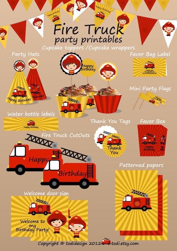 SALE Fire Truck Printable Birthday Set - Printbale PDF - PERSONALIZED