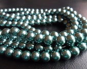 Teal Green Glass Pearls 6mm Round Full Strand (Tealgreen6)