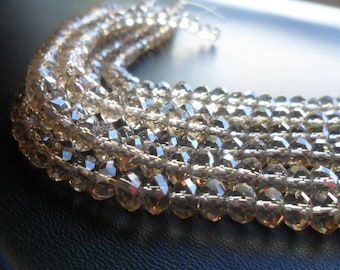 Light Smokey Faceted Crystal Rondelle Beads 6x4mm