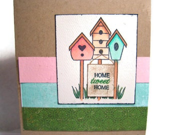 Home Tweet Home We've Moved New House Address Card Hand Stamped and Colored