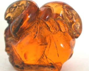Vintage Japanese amber netsuke -Snake & Mouse Struggles on Skull,signed
