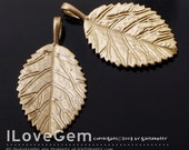 NP-1290 Matt Gold plated, Leaf pendant, 2pcs