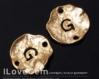 NP-1310 Matt Gold Plated, 12mm Disc, Pendant, Alphabet, G, 4pcs