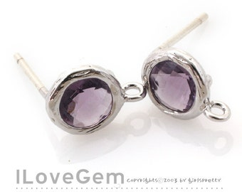 B112 Rhodium plated, Amethyst, Glass, mini Disc, 7.6mm, earrings, 925 sterling silver post, 2pcs