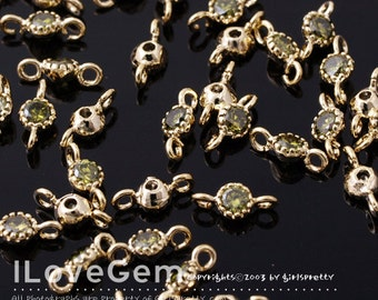 NP-1484 Gold plated, 3.5mm CZ, Connector, Birth Stone, Peridot, 2pcs