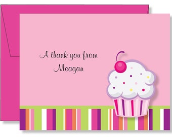 Custom Cupcake Thank You Note Cards