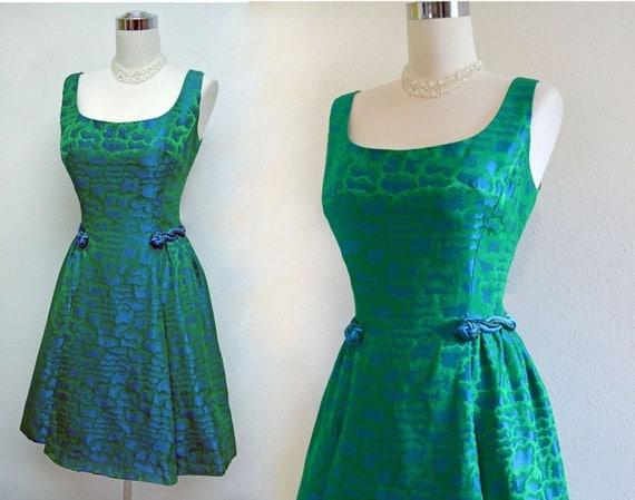 Vintage 50s 60s Ocean Blue and Emerald Green Brocade Mad Men Cocktail Dress
