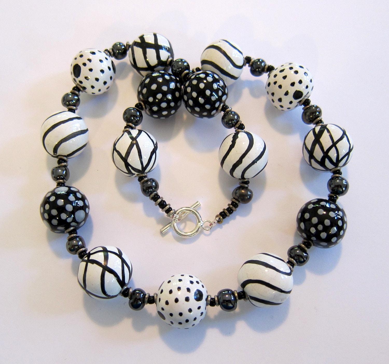 Ceramic Bead Beads: Kazuri Bead Necklace Ceramic Jewelry Black And By