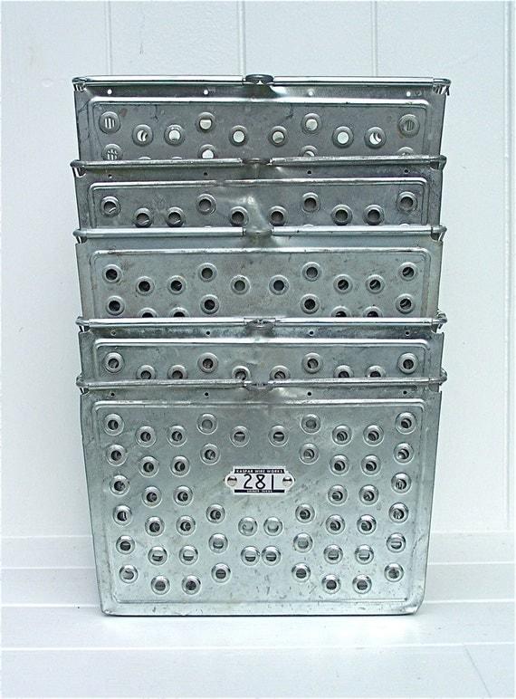 2 Vintage Metal Locker Baskets