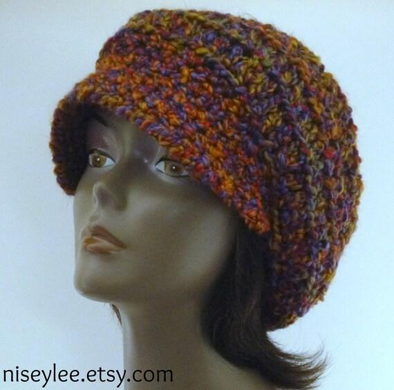 Autumn Hat  Collection - OOAK Garnet Ombre Chunky  Newsboy Cap
