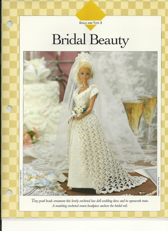 Bridal  Beauty  Fashion  Doll  Wedding  Dress  Crochet  Pattern  Barbie