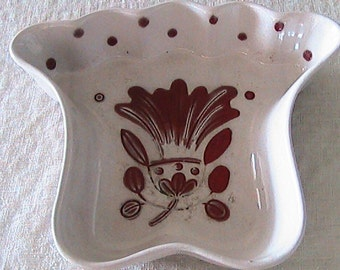 Vintage Galagray Ware Lazy Susan Dish - California Cleminsons Pottery - Crimson Red - Oatmeal