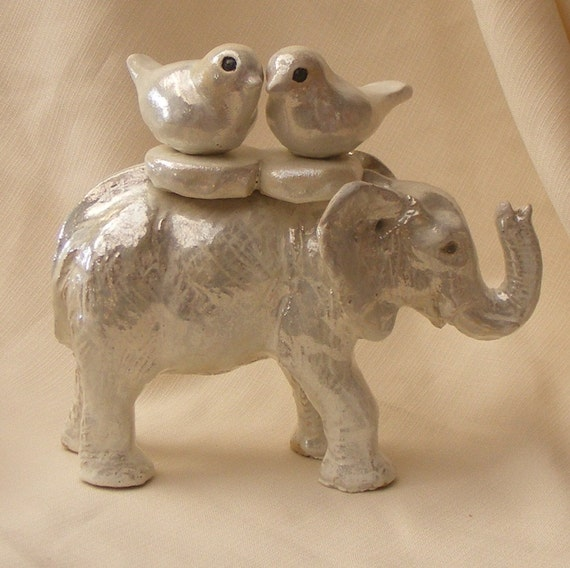Wedding Cake Topper White Elephant With A Pair Of By OrnaArtHeart