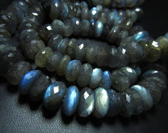 AAA - 10 inches - Beautifull Amazing Gorgeous - LABRADORITE - Micro faceted Rondell Beads Full Blue Multy Flashy Fire huge size - 9 - 10 mm