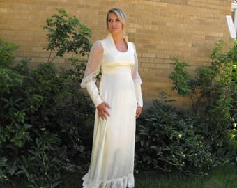 Ivory Satin Wedding Dress 70s Vintage Gunne Sax Victorian Prairie Lace Full 11 S
