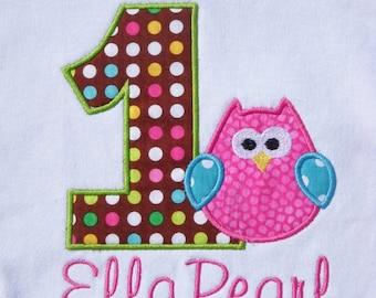 Girls' Birthday Owl Birthday T-Shirt or Bodysuit