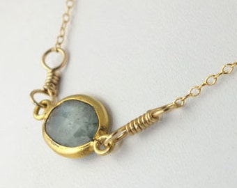 Moss Aquamarine Gold Necklace, January Birthstone Necklace, Aquamarine Gold Necklace