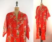 vintage 1970s kimono robe cherry tomato red floral print japanese lingerie small s medium m large l