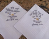 Personalized Father and Mother of the Bride machine embroidered wedding handkerchief by Sweet Sewing Jeans