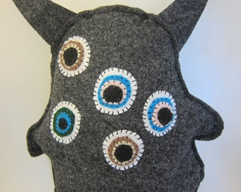 Stuffed felt monster toy hand sewn eye monster plush