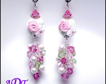 Cassandra Rose...Lampwork Earrings in Pink and White