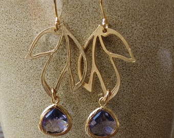 FIRENZE - Three Leaves Earrings, Purple Glass Dangles, Modern Style, Lovely Gift, Everyday Fun Jewelry by 4ever4