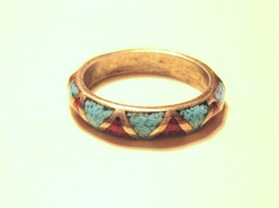 Vintage Sterling Silver Coral and Turquoise Ring - Sz 7