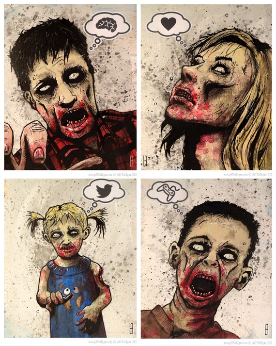 Zombies' Mind Print Set of Four (4)