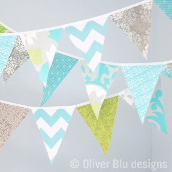 Mini pennant fabric banner - bunting in aqua, grey, and green - nursery decor, party decor, photo prop
