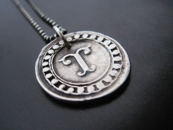 Fine Silver Wax Stamp Initial Seal Necklace