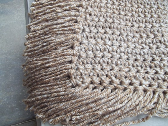 Chunky baby blanket with fringe or  photography prop