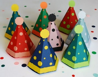 Party or Clown Hat Favor or Gift Box with Confetti - Small