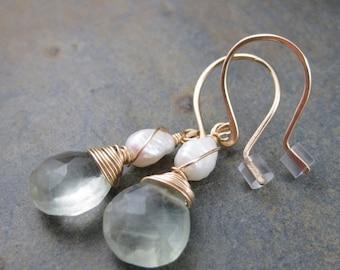 Fluorite Briolette Earrings and Freshwater Pearl -  Gold Filled Hook Earrings