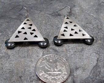 Sterling Silver and Hematite  Earrings OOAK