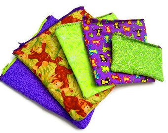 Reusable Snack Sandwich Bags, Back to School Eco Friendly, Custom Made to Order - SET OF FIVE, Purple Green Monkeys