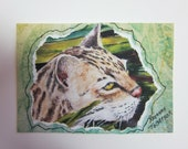 Ocelot, Big Cat watercolor painting Collage ACEO 314 Big Cat Rescue Florida Tampa animal