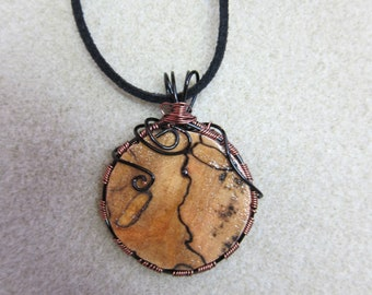 SALE Spalted Maple Circular Wire Wrapped pendant, Nontarnish Antique copper wire USA Made Ecofriendly
