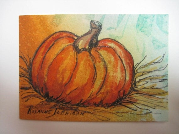 ACEO Pumpkin 2, original watercolor painting pen and ink Fall harvest 306 Thanksgiving Halloween