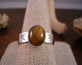 stamped silver and tigers eye ring